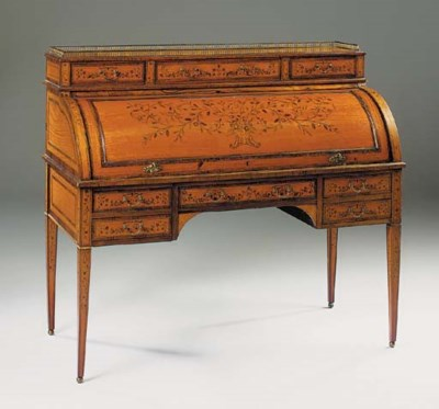 A EDWARDIAN SATINWOOD, ROSEWOO
