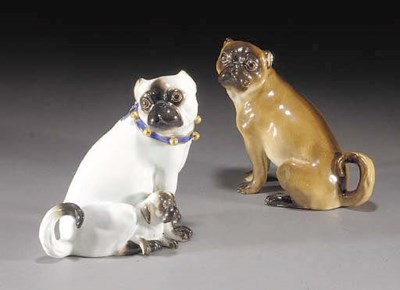 A Meissen model of pug and pup