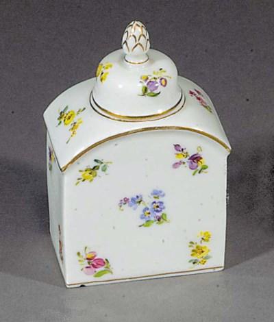 A Meissen rectangular tea cadd