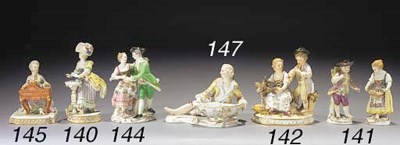 A Meissen group of a vintner a