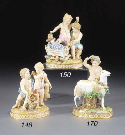 A Meissen group of two putti