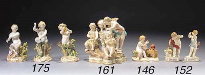 A Meissen group of three putti