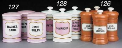 A set of five porcelain pharma