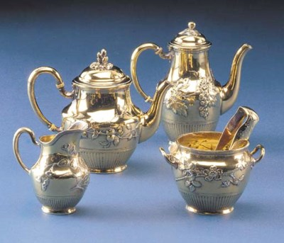 A FRENCH SILVER-GILT FIVE PIEC