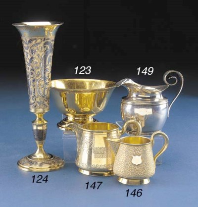A RUSSIAN SILVER-GILT CREAM JU