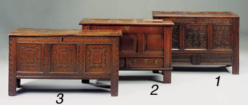 An oak panelled chest, English