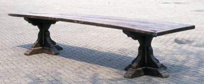 A large oak refectory table, E