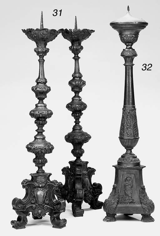 A copper pricket candlestick,