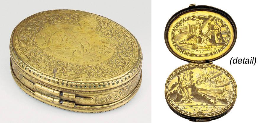 A Dutch brass tobacco box, 18t