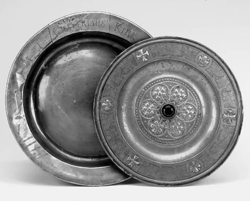 A Scottish brass alms dish, 18
