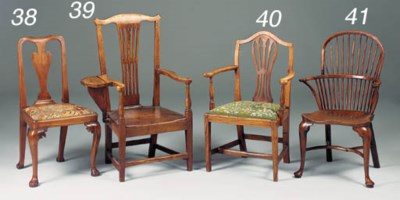 AN ELM DINING CHAIR, ENGLISH,