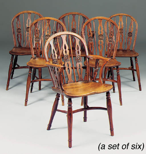 A set of six yew wood and elm