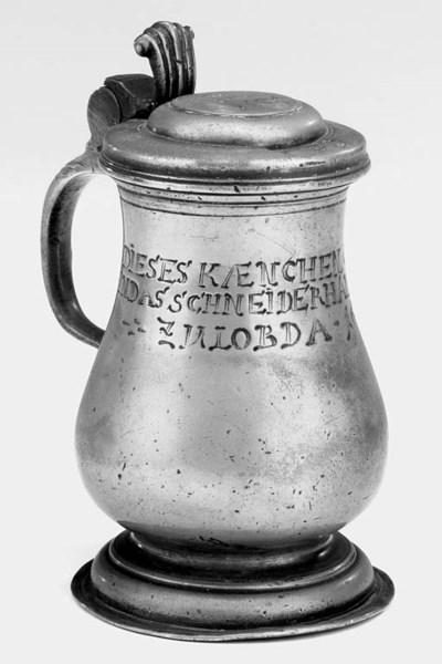 A German pewter tankard, late