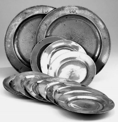 A set of ten English pewter pl