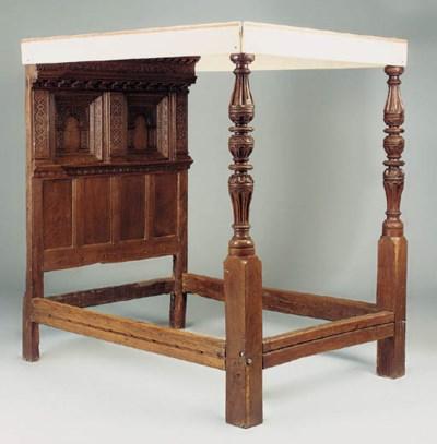 An oak bedstead, English, 17th
