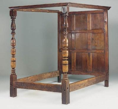 An oak bedstead, English, part