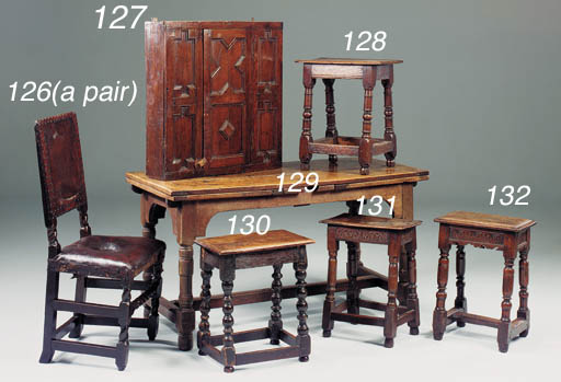 An oak joined stool, English,