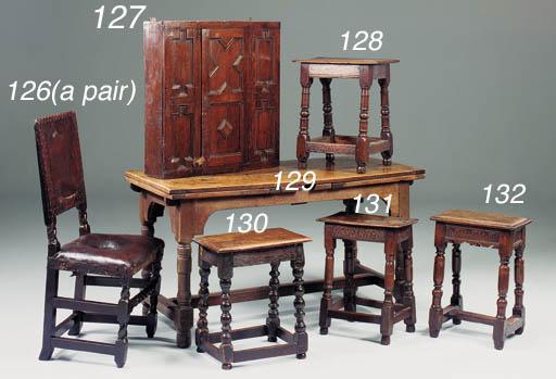 An oak joined stool, English,