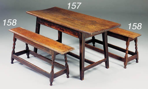 A pair of long stools, English