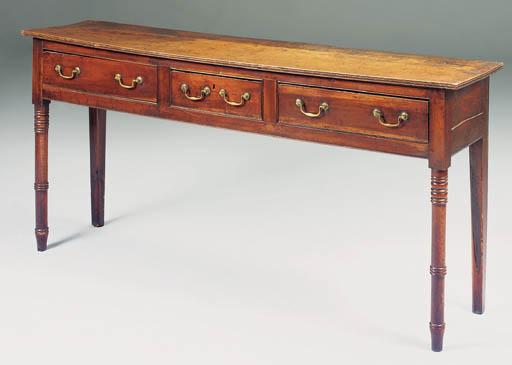 An elm and fruitwood dresser,