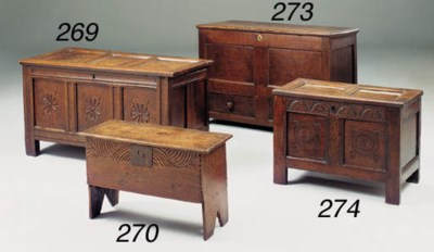 A small oak chest, English, in