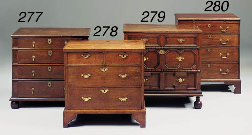 An oak chest of drawers, English, mid 18th century