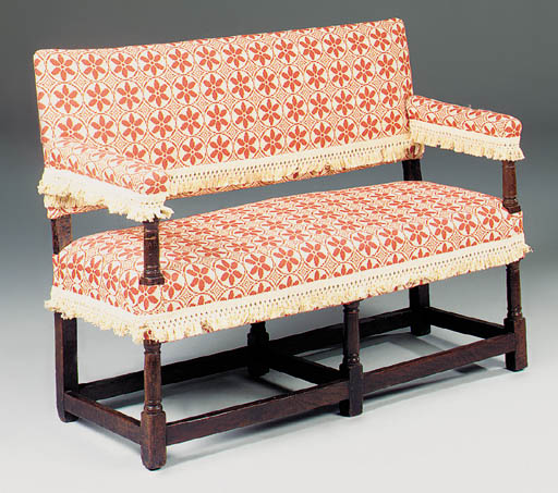 A small oak and upholstered se
