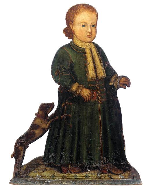 A dummy board of a young boy w