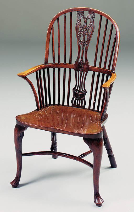 A yewwood and mahogany Windsor