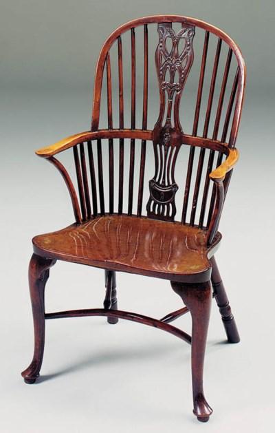 A yewwood and mahogany Windsor
