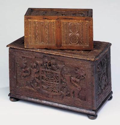 A carved oak box, probably Sca