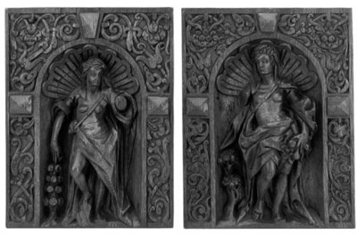 A pair of carved oak reliefs,