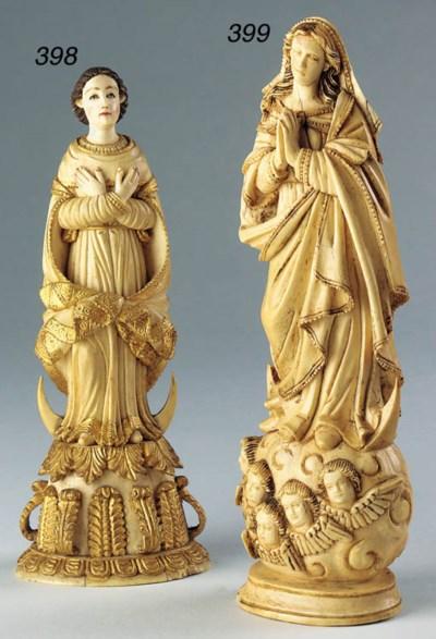 A Goanese carved ivory figure