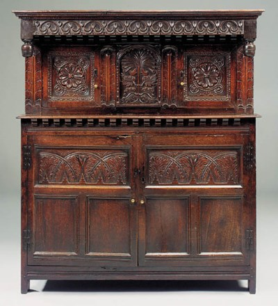 An oak press cupboard, probabl