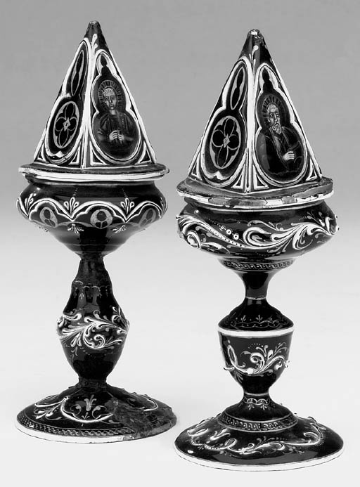 A near pair of Limoges enamel