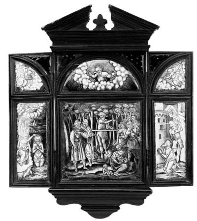 A Limoges enamel wall triptych