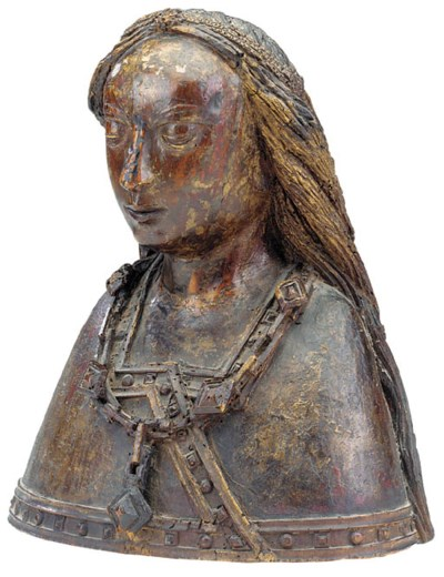 A Flemish carved wood bust of
