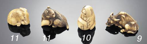An ivory netsuke of a recumben