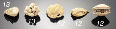 An ivory netsuke of a clam she