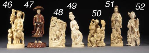 An ivory okimono of a bijin an