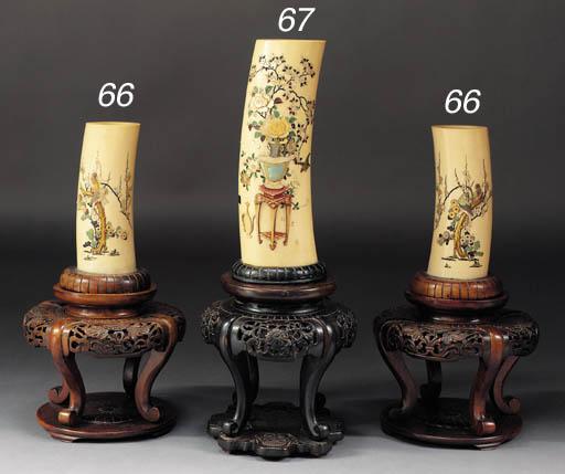 A pair of ivory Shibayama styl