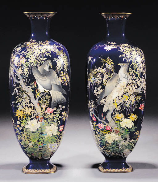 A large pair of cloisonne balu
