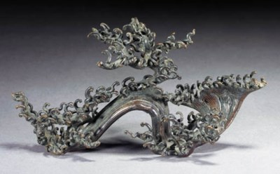 A bronze brushrest 19th Centur