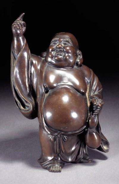 A bronze model of Hotei 19th C