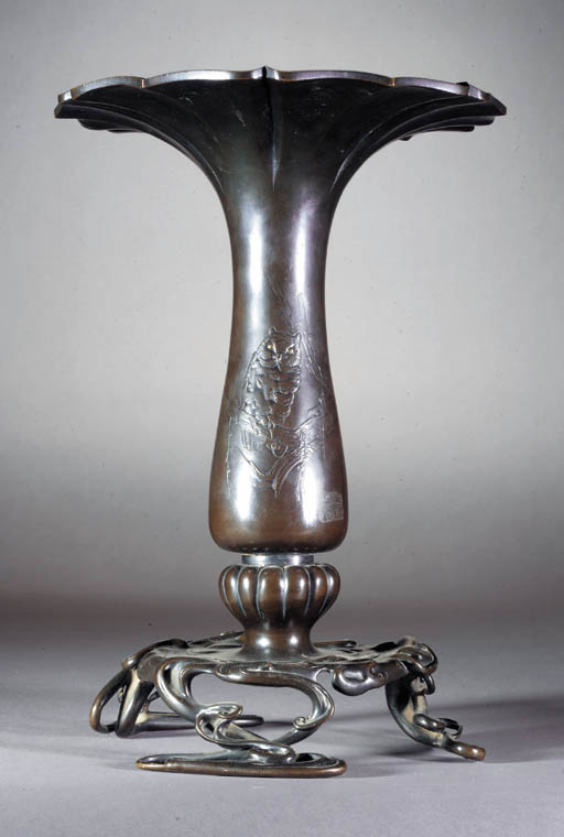A bronze flower vase 19th Cent