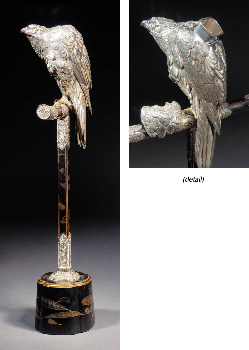 A silver and bronze model of a hawk Meiji Period