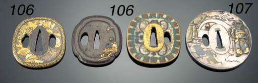 A circular silver tsuba 19th C