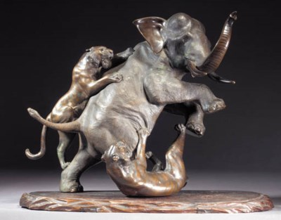 A bronze elephant and tiger gr