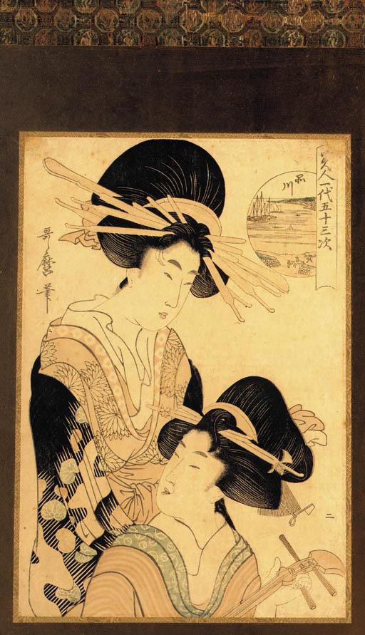 Utamaro, oban tate-e two woodb