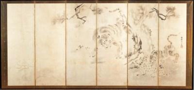A six fold screen in sumi on p